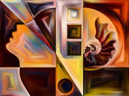 Foto de Serie Textura Interior. Disposición creativa de la cara humana, colores, texturas orgánicas, curvas que fluyen como metáfora conceptual sobre el tema del mundo interior, la mente, la naturaleza y la creatividad - Imagen libre de derechos