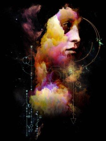 Photo pour Mathématiques du Soi. Sa série Symboles. Peinture abstraite de portrait de jeune femme sur le sujet du Moi intérieur, l'astrologie, l'occulte, la sorcellerie, la magie et ses symboles. - image libre de droit