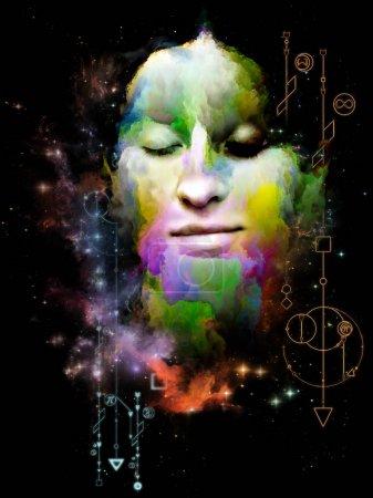 Photo pour Mathématiques du rêve. Sa série Symboles. Peinture abstraite de portrait de jeune femme sur le sujet du Moi intérieur, l'astrologie, l'occulte, la sorcellerie, la magie et ses symboles . - image libre de droit