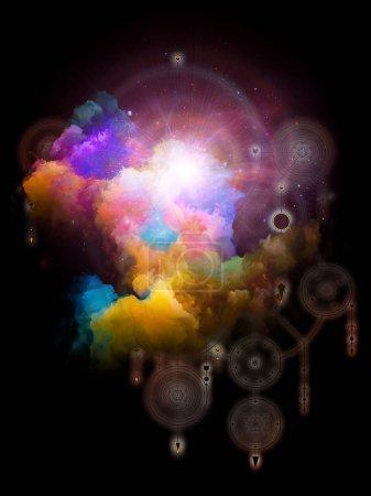 Photo pour Symboles de l'au-delà. Série spatiale platonique. Nébuleuse fractale abstraite et signes mystiques sur le Soi intérieur, l'astrologie, l'occulte, la sorcellerie, la magie et ses symboles . - image libre de droit