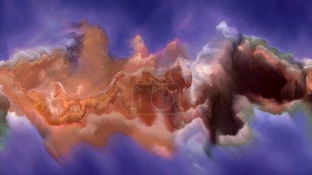 Photo pour Atmosphère géante gazeuse. Impossible série Planète. Image de flux vibrant de teintes et de dégradés en rapport conceptuel avec l'art, la créativité et le design - image libre de droit