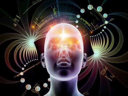 Photo pour Série Énergie de la pensée. Composition tête humaine et structures fractales abstraites pour illustrer le fonctionnement de l'esprit humain . - image libre de droit