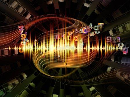 Photo pour Interaction des structures radiales abstraites et des éléments numériques sur le thème de la science des mathématiques, de l'éducation, de l'informatique et de l'internet . - image libre de droit