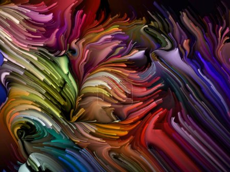 Photo for Swirling color paint isolated on black background on subject of abstract art, dynamic design and creativity. Color Swirl series. - Royalty Free Image