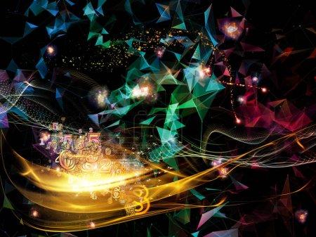 Photo pour Série Digital Dreams. Fond composé d'arrière-plan technologique avec des composants de visualisation virtuelle et adapté pour une utilisation dans les projets sur la science, l'éducation, les ordinateurs et la technologie moderne - image libre de droit