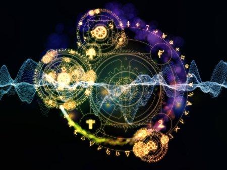 Photo pour Cercles occultes et structures de données technologiques composition sur le thème de la magie et du sacré - image libre de droit