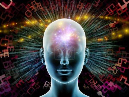 Photo pour Illustration 3D. Série Mind Halo. Tête féminine sur fond d'éléments abstraits rayonnants au sujet de la pensée, de l'activité cérébrale, de l'intelligence artificielle, des ressources mentales et du monde intérieur . - image libre de droit