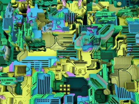 """Photo pour Displacement Worlds series. Reproduction en 3D de modèles technologiques abstraits sur la science, la technologie moderne et l """"éducation . - image libre de droit"""