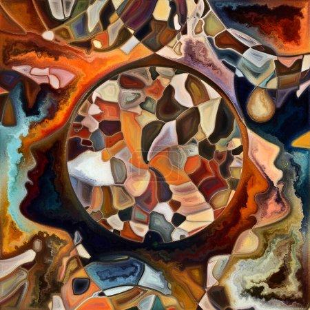 Photo pour Forme intérieure. Couleurs en nous série. Aménagement des silhouettes humaines, textures artistiques et jeux de couleurs sur le thème de la vie, du drame, de la poésie et de la perception - image libre de droit