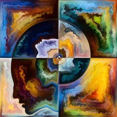 Photo pour Série spirale intérieure. Peinture des contours du visage humain et des structures géométriques sur le sujet du mental, de l'âme, du monde intérieur et de la conscience . - image libre de droit
