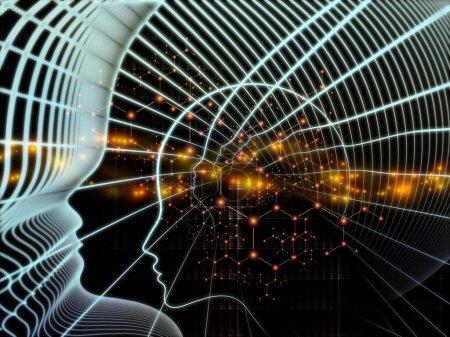 Foto de Out of Your Mind Science series. Diseño hecho de espiral de silueta humana y elementos abstractos sobre el tema de la conciencia, la mente, la inteligencia artificial y la tecnología - Imagen libre de derechos