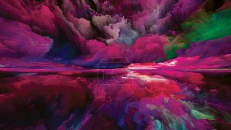 Photo pour Montagnes spectrales. Escape to Reality. Fond de coucher de soleil surréaliste couleurs et textures du lever du soleil en association avec la peinture de paysage, l'imagination, la créativité et l'art - image libre de droit