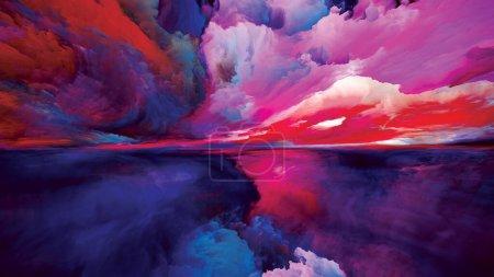 Photo pour Terre de Lumière. Escape to Reality. Composition abstraite des couleurs et textures du lever du soleil au coucher du soleil surréaliste adaptée aux projets de peinture de paysage, d'imagination, de créativité et d'art - image libre de droit