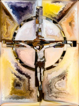 Photo pour Spectral Faith Cross of Stained Glass series. Conception de fond du motif de couleur de fenêtre de l'église organique sur le sujet de l'unité fragmentée de la crucifixion du Christ et de la nature - image libre de droit
