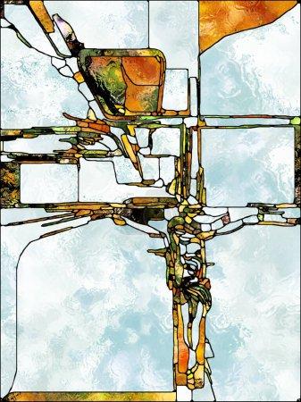 Photo pour Des éclats de croyance. Série Croix de vitraux. Composition graphique du motif de couleur de fenêtre de l'église organique pour le sujet de l'unité fragmentée de la crucifixion du Christ et de la nature - image libre de droit