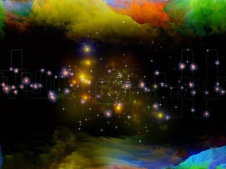 Photo pour Composition abstraite de la nébuleuse fractale, réseau virtuel et lumières sur la technologie moderne, la science et l'éducation - image libre de droit