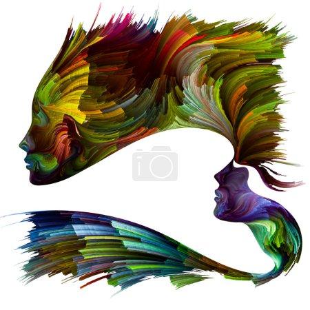 Foto de Serie Paleta Emocional. Fuerza de avance. Pintura abstracta de colores vibrantes de siluetas femeninas sobre temas de liberación, imaginación, creatividad y mundo interior. - Imagen libre de derechos