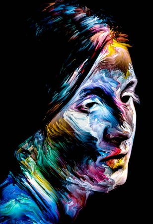 People of Color series. Abstract multicolor portrait of young woman on subject of creativity, imagination and art.