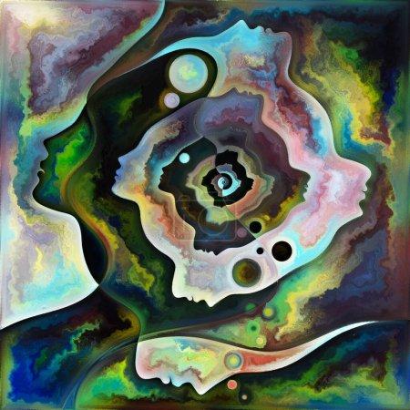 Photo pour Spectral Mind. Couleurs en nous série. Agencement abstrait des silhouettes humaines, des textures artistiques et des jeux de couleurs adaptés aux projets sur la vie, le théâtre, la poésie et la perception - image libre de droit