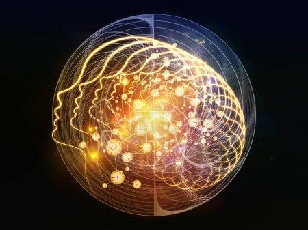 Foto de Out of Your Mind Science series. Espiral de silueta humana frente a elementos abstractos sobre el tema de la conciencia, la mente, la inteligencia artificial y la tecnología - Imagen libre de derechos
