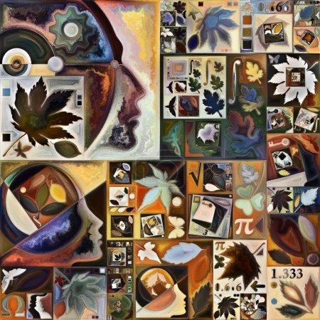 Photo pour Herbier de l'esprit. Secret Password series. Fond de silhouettes humaines, textures artistiques et jeux de couleurs pour une utilisation dans des projets sur la vie intérieure, le théâtre, la poésie et la perception - image libre de droit