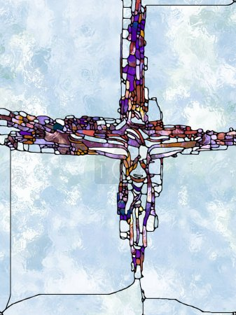 Faith of Light. Cross of Stained Glass series. Composition of organic church window color pattern on theme of fragmented unity of Crucifixion of Christ and Nature