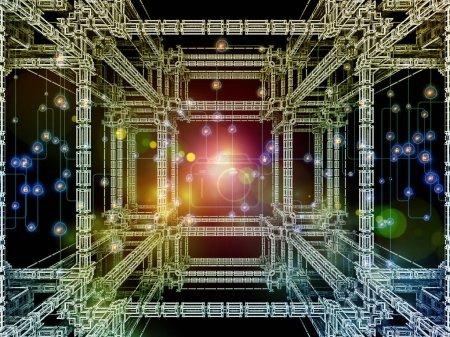 3D-Darstellung fraktaler Strukturen, abstrakter digitaler Netzwerke und Lichter zum Thema moderne Technologie, Zukunft der Datenverarbeitung und virtuelle Realität