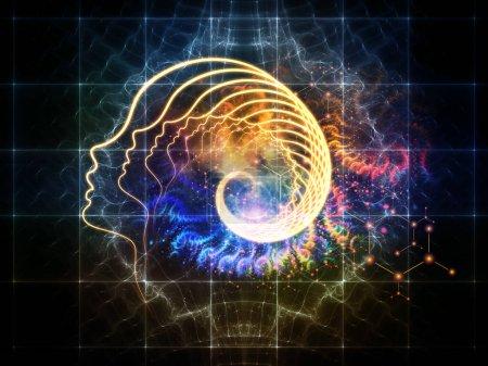 Photo pour La série Out of Your Mind Science. Contexte de la spirale de la silhouette humaine ligne de visage et des éléments abstraits sur le sujet de la conscience, l'esprit, l'intelligence artificielle et la technologie - image libre de droit