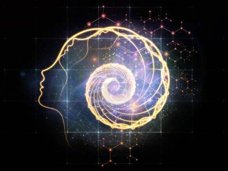 Foto de Out of Your Mind Science series. Disposición de espiral de silueta humana frente a elementos abstractos sobre el tema de la conciencia, la mente, la inteligencia artificial y la tecnología - Imagen libre de derechos