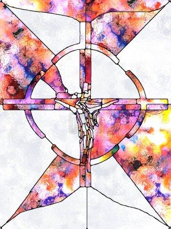 Photo pour Des éclats de croyance. Série Croix de vitraux. Arrangement de motif de couleur de fenêtre de l'église organique sur le thème de l'unité fragmentée de la crucifixion du Christ et de la nature - image libre de droit