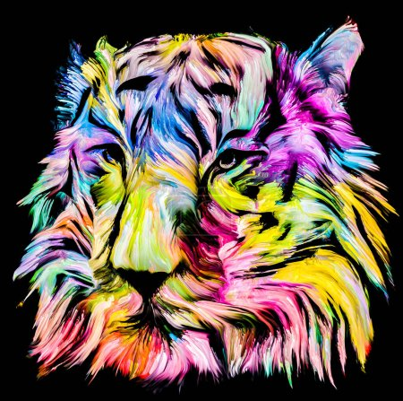 Animal Paint series. Tiger portrait in colorful paint on subject of imagination, creativity and abstract art.