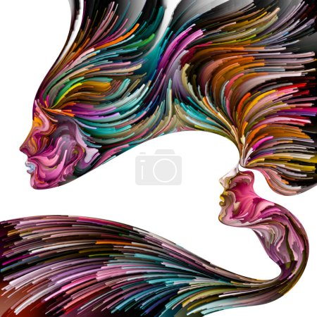 Photo pour Palette émotionnelle série. Force avancée. Peinture abstraite de couleurs vibrantes de silhouettes féminines sur le sujet de la libération, de l'imagination, de la créativité et du monde intérieur. - image libre de droit