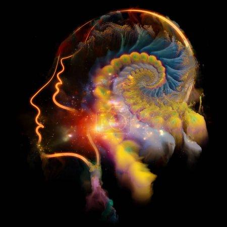 Photo pour Série de symboles humains. Unité des lignes définies de la forme humaine et des schémas organiques de la Nature au sujet de la conscience, de l'art et du mental . - image libre de droit