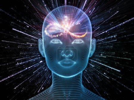 Photo pour Bright Dreams. Lucid Mind series. Conception de fond de rendu 3D de grillage lumineux visage humain sur le sujet de l'intelligence artificielle, la conscience humaine et l'IA spirituelle - image libre de droit