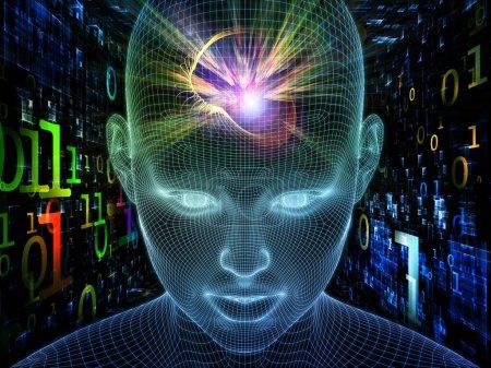 Photo pour Pensées numériques. Lucid Mind series. Fond de rendu 3D du visage humain de treillis métallique lumineux pour une utilisation dans des projets sur l'intelligence artificielle, la conscience humaine et l'IA spirituelle - image libre de droit