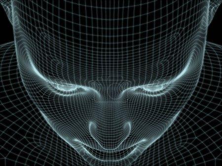 Photo pour 3D Rendre de tête humaine en treillis métallique pour une utilisation dans les illustrations sur la technologie, l'éducation et l'informatique - image libre de droit