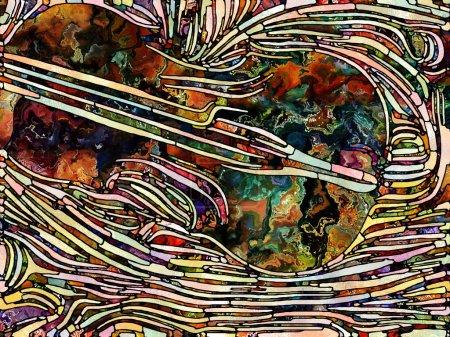 Photo pour Textures brisées. Unity of Stained Glass series. Arrangement créatif de motifs de fragments de couleurs et de textures pour des projets sur l'unité de fragmentation, l'art, la poésie et le design - image libre de droit