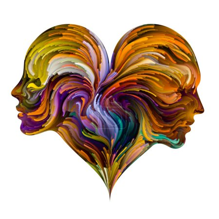Photo for Soul Mates series. Male and female heads joined into heart shape symbol with brushstrokes of digital paint. Illustration on subject of love, romance,  marriage and family. - Royalty Free Image
