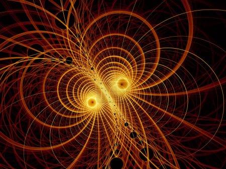 Photo pour Visualisation de la série de mathématiques. Golden Lines of Fractal Universe. rendu complexe de la topologie virtuelle pour les milieux scientifiques, éducatifs et technologiques. - image libre de droit