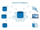 Business Intelligence infographic concept Data processing flow with data sources ETL datawarehouse OLAP data mining and business analysis