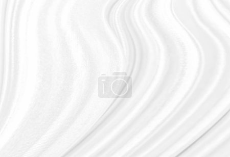 Photo for White abstract background of white fabric texture with elegant soft wave curved pattern on silk satin cloth textile material sheet surface for wallpaper backdrop decoration and any desig - Royalty Free Image