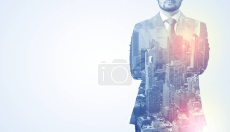 Photo for Businessman in suit standing thinking with metropolis graphic - Royalty Free Image