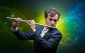 Flutist with colorful fabled concept