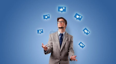 Photo for Young person playing with social media symbols - Royalty Free Image
