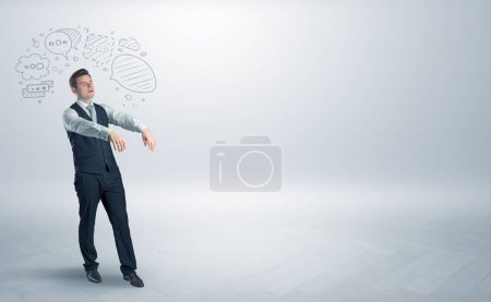 Photo for Sleeping sickness young businessman with questions, staffs in his head - Royalty Free Image