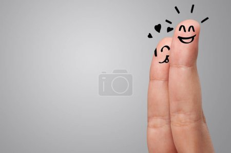 Photo for Waggish happy fingers with team building concept - Royalty Free Image
