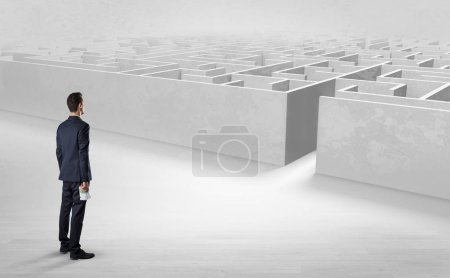 Photo for Businessman getting ready to enter the labyrinth with objects in his hand concept - Royalty Free Image