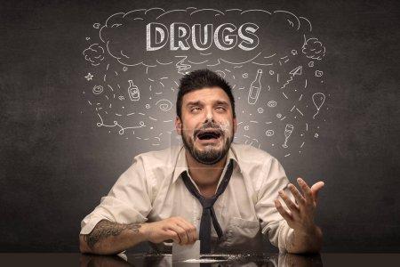 Photo pour Perdant ivrogne avec alcool, drogue, gueule de bois, concept de drogues alcoolisées - image libre de droit