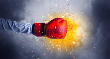 Photo for Hand hits strongly and makes fire beam around - Royalty Free Image