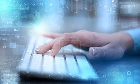 Photo for Business woman hand typing on keyboard with international system concept - Royalty Free Image